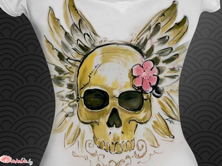 """Ръчно рисувана тениска """"Златен череп"""""""