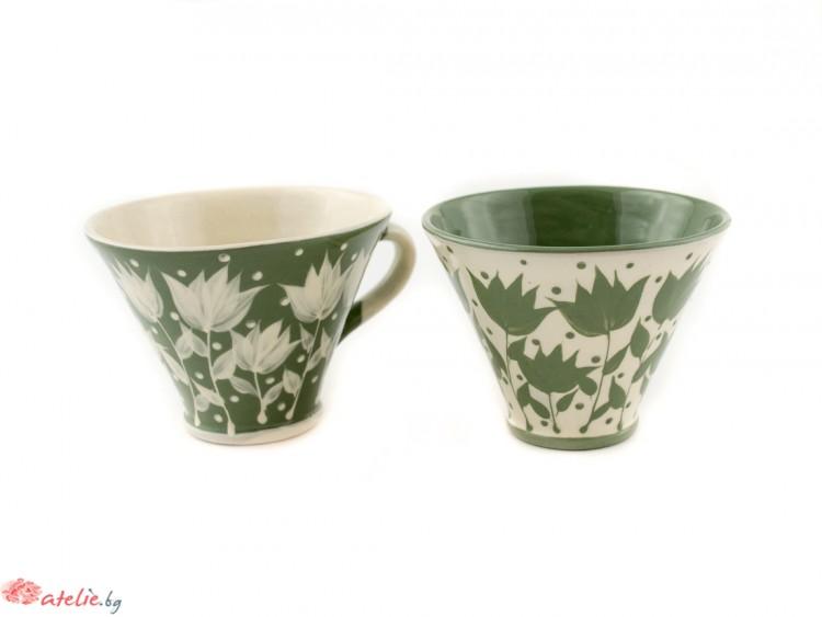 """Комплект малки керамични чаши  """"Зелено и бяло"""""""