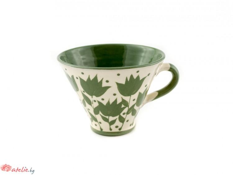 """Малка керамична чаша """"Зелено и бяло"""""""