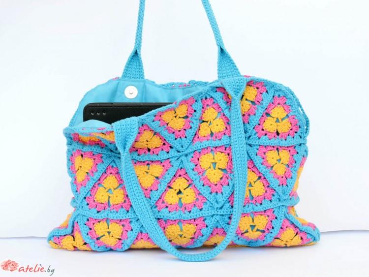 Ръчно изплетена плажна чанта