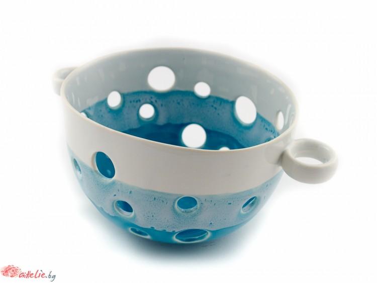 Порцеланова купа - Гевгир в синьо и бяло