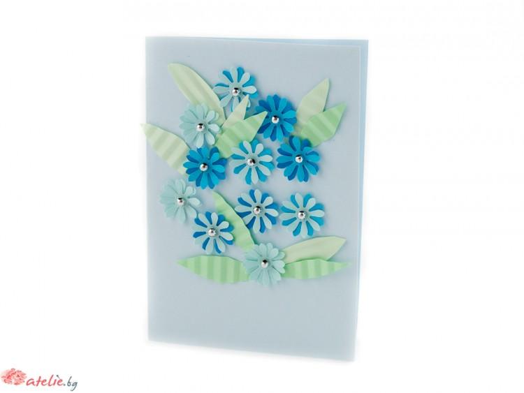 """Малка квилинг картичка """"Сини цветя"""""""