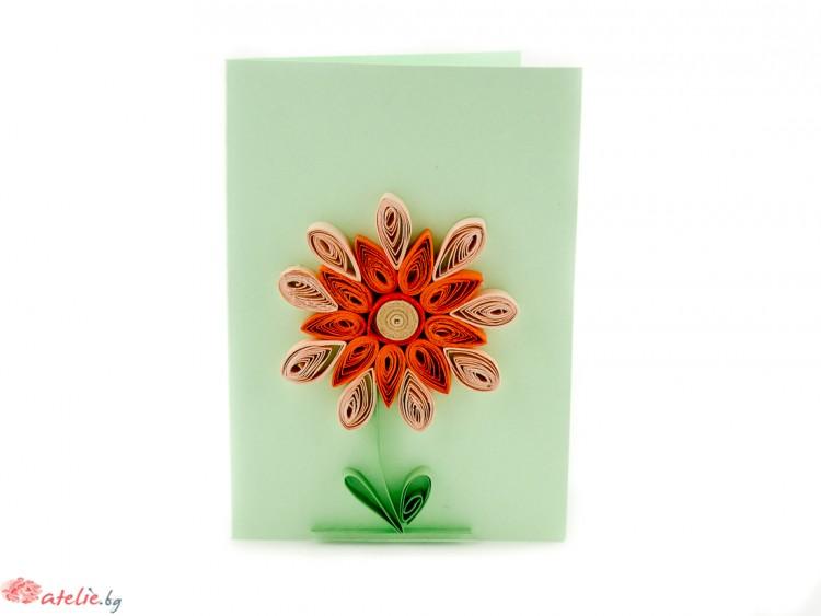 """Малка квилинг картичка """"Цвете"""""""