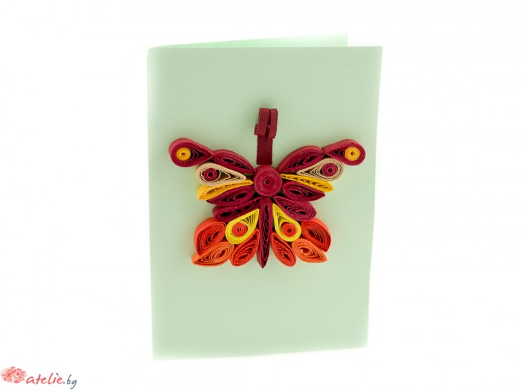 "Малка квилинг картичка ""Пеперуда"""
