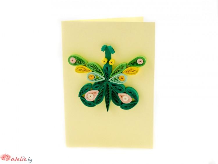 "Малка квилинг картичка ""Зелена пеперуда"""