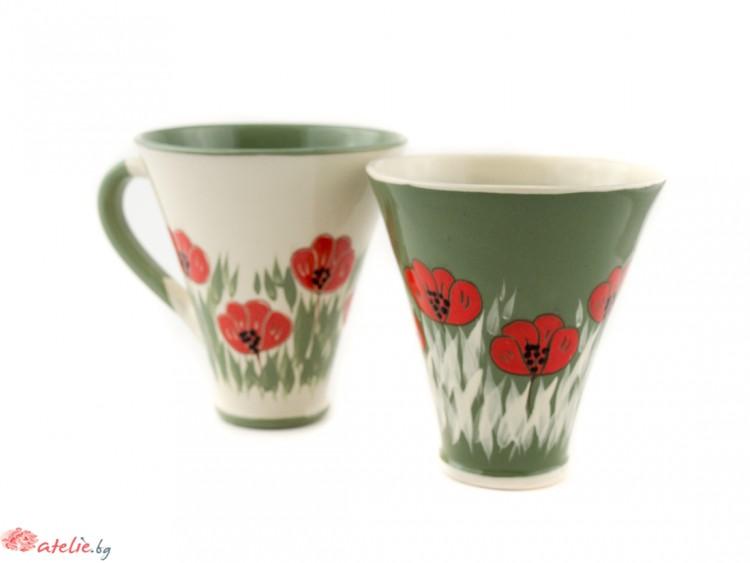 """Комплект големи керамични чаши """"Бяло и зелено"""""""