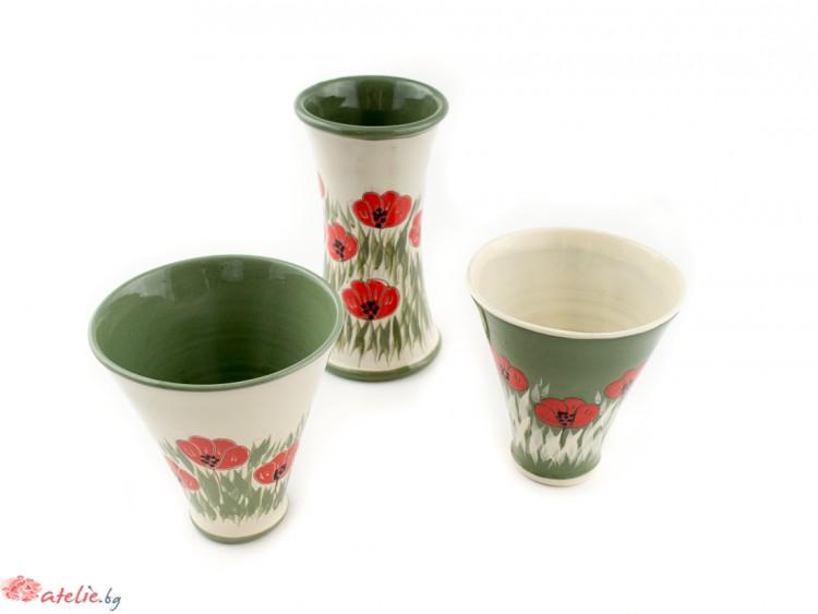 """Комплект за чай """"Бяло и зелено"""""""