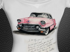 """Ръчно рисувана тениска """"Розов кадилак"""""""