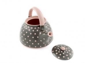 """Керамичен чайник """"Сиво и Розово"""""""