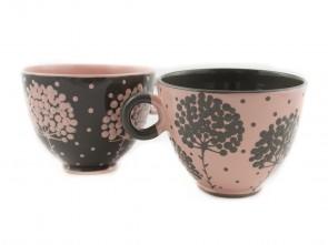 "Комплект големи керамични чаши ""Сиво и розово"""