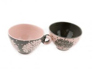 """Комплект малки керамични чаши  """"Сиво и розово"""""""