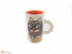 """Ръчно изработена порцеланова чаша """"Котка"""""""