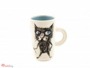 """Ръчно изработена порцеланова чаша """"Котка с метла"""""""
