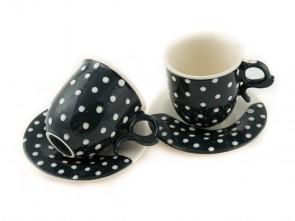 "Комплект елегантни порцеланови чаши ""Малки бели точки"""