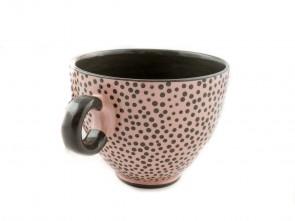 """Голяма керамична чаша """"Сиво и Розово"""""""
