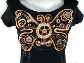 """Ръчно рисувана тениска """"Steampunk Пеперуда"""""""