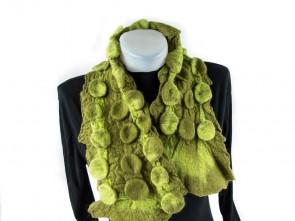 """Ръчно изработен зелен шал-яка плъсти """"3D"""""""