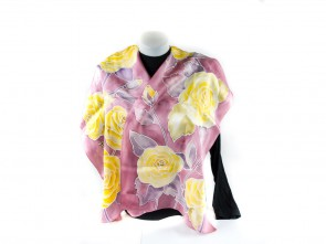 """Ръчно рисуван копринен шал """"Жълта роза"""""""