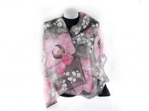 "Ръчно рисуван копринен шал ""Орхидея"""