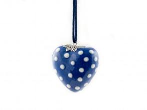 Порцеланово ръчно изработено сърце в синьо