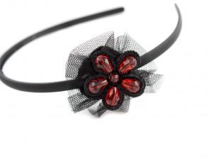 Диадема с дантелено цвете в черно